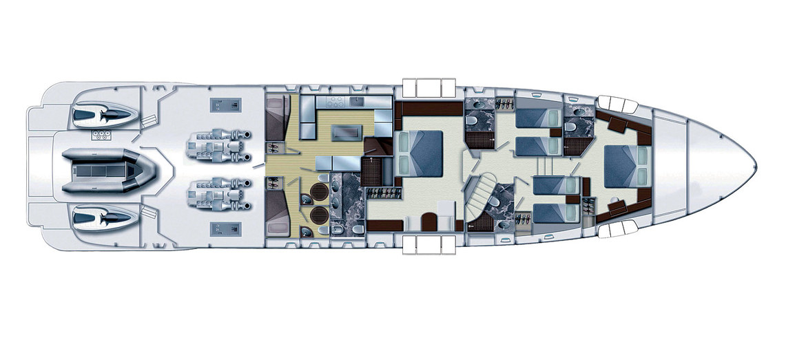 Lower deck Azimut Leonardo 100